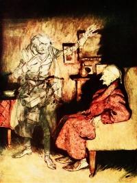 """Ebenezer Scrooge - der """"Geizkragen"""" und der Geist seines verstorbenen Geschäftspartners Jacob Marley."""